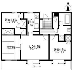 東京都府中市分梅町2丁目の賃貸マンションの間取り
