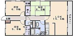 アクレイム東野[3階]の間取り