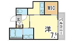 神戸市海岸線 駒ヶ林駅 徒歩5分の賃貸マンション 4階1Kの間取り