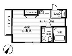 神奈川県横浜市南区平楽の賃貸アパートの間取り