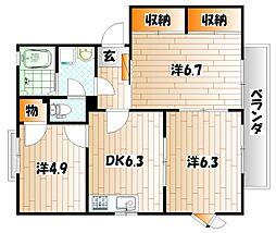 コモンシティ志井 D棟[2階]の間取り