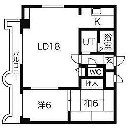 北海道札幌市中央区南三条西7丁目の賃貸マンションの間取り