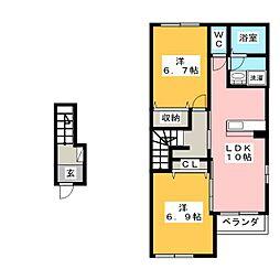 愛知県豊川市中野川町1丁目の賃貸アパートの間取り