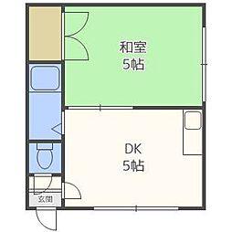 東札幌ハイツB[1階]の間取り
