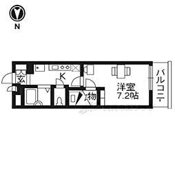 京阪宇治線 六地蔵駅 徒歩3分の賃貸アパート 4階1Kの間取り