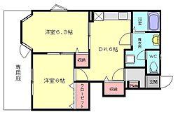 福岡県福岡市東区三苫1丁目の賃貸アパートの間取り