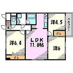 兵庫県尼崎市南武庫之荘9丁目の賃貸マンションの間取り