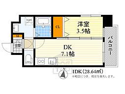 アンフィニ17マローネ 2階1DKの間取り
