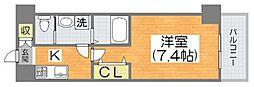 Osaka Metro谷町線 平野駅 徒歩3分の賃貸マンション 6階1Kの間取り