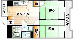 シャトレ上本町[2階]の間取り