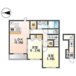 阪急京都本線 茨木市駅 徒歩25分の賃貸アパート 2階2LDKの間取り