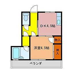 徳島県徳島市中島田町3丁目の賃貸アパートの間取り