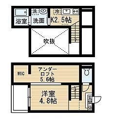 愛知県名古屋市中村区塩池町1の賃貸アパートの間取り
