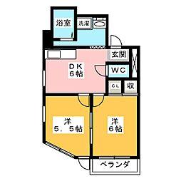スカイハイツ恋ヶ窪 3階2DKの間取り