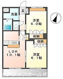 コートヴェール中島田[1階]の間取り
