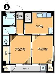 コーポアサカ江北[301号室]の間取り