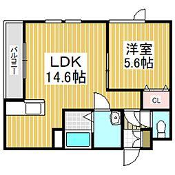 (仮)日新町6丁目新築AP 1階1LDKの間取り