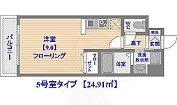 ステイツ姪浜駅前 4階ワンルームの間取り