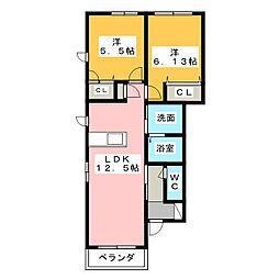 ブローニュコートA棟[1階]の間取り