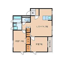静岡県静岡市清水区押切の賃貸マンションの間取り