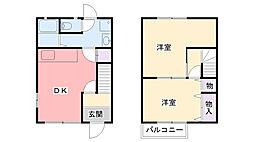 兵庫県三木市自由が丘本町の賃貸アパートの間取り