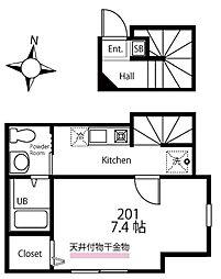 ハーミットクラブハウス三ツ沢中町(仮) 2階1Kの間取り