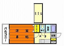 福岡県福岡市東区松崎1丁目の賃貸アパートの間取り