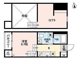 ゴールドパレス箱崎駅前 2階1Kの間取り
