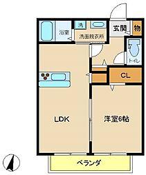 兵庫県神戸市西区枝吉5丁目の賃貸アパートの間取り