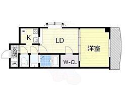 Osaka Metro御堂筋線 新大阪駅 徒歩5分の賃貸マンション 7階1LDKの間取り