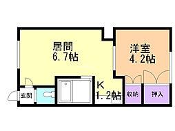 本町コーポ 2階1DKの間取り