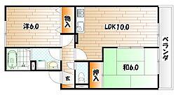 福岡県北九州市小倉南区湯川新町2丁目の賃貸アパートの間取り
