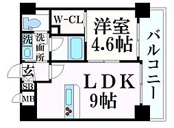 阪急神戸本線 春日野道駅 徒歩7分の賃貸マンション 3階1LDKの間取り