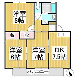 グランドール高田B[2階]の間取り