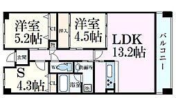 阪神本線 西灘駅 徒歩5分の賃貸マンション 5階3LDKの間取り
