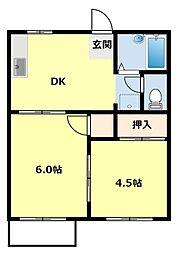 愛知県豊田市梅坪町6丁目の賃貸アパートの間取り