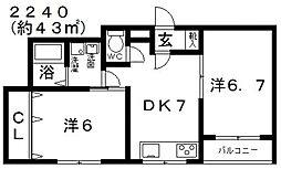 シティ城山III[402号室号室]の間取り