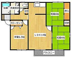 福岡県北九州市小倉南区高野3の賃貸アパートの間取り