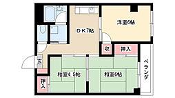 愛知県名古屋市南区明治2丁目の賃貸マンションの間取り