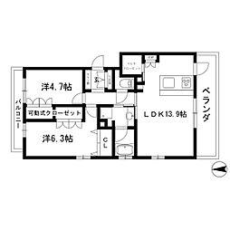 愛知県名古屋市瑞穂区雁道町6丁目の賃貸マンションの間取り