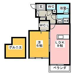SAKURA 2階1LDKの間取り