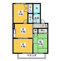 静岡県藤枝市高柳4丁目の賃貸アパートの間取り