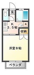 栃木県宇都宮市陽東8丁目の賃貸アパートの間取り
