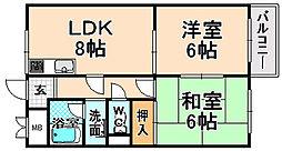 兵庫県伊丹市若菱町2丁目の賃貸マンションの間取り