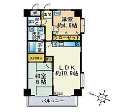 川崎ロイヤルマンション(周辺の賃料相場と比べて下さい)[403号室]の間取り
