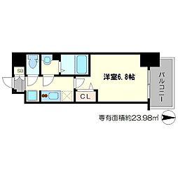 スワンズシティ新大阪ヴィーヴォ 8階1Kの間取り