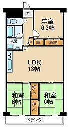 枚方淀川公園スカイハイツ[7階]の間取り
