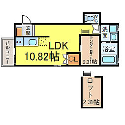名古屋市営鶴舞線 大須観音駅 徒歩12分の賃貸アパート 2階1LDKの間取り