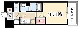 プレサンスTHEMOTOYAMA 10階1Kの間取り