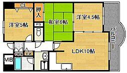 大阪府大阪市平野区瓜破6丁目の賃貸マンションの間取り